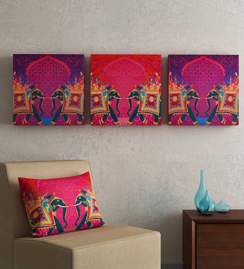 Multicolour MDF Wood Abstract Framed Wall Art Sej by Nisha Gupta - Set of 3