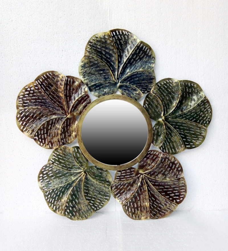 Multicolour Metal & Glass Fleur Mirror by Vedas