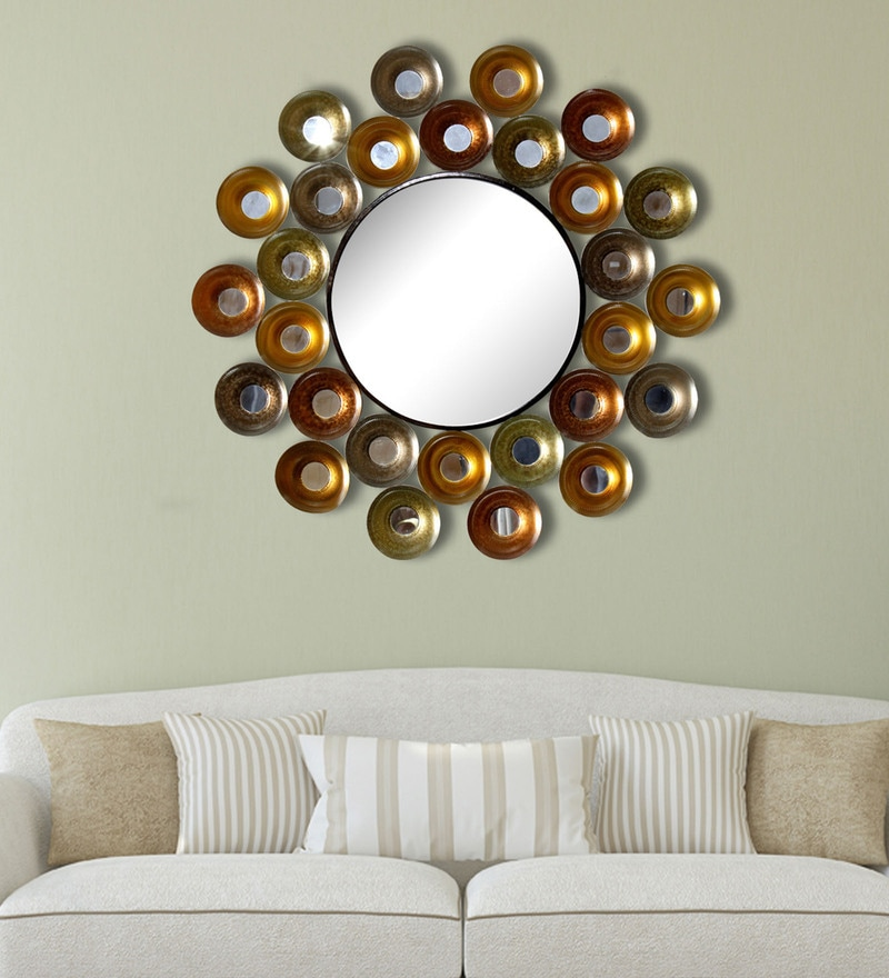 Multicolour Metal Beautiful Design Mirror by Craftter