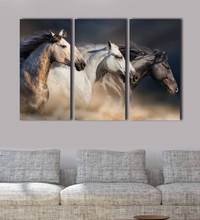 Multicolour Metal Three Horses Art Panels by Craftter - Set of 3