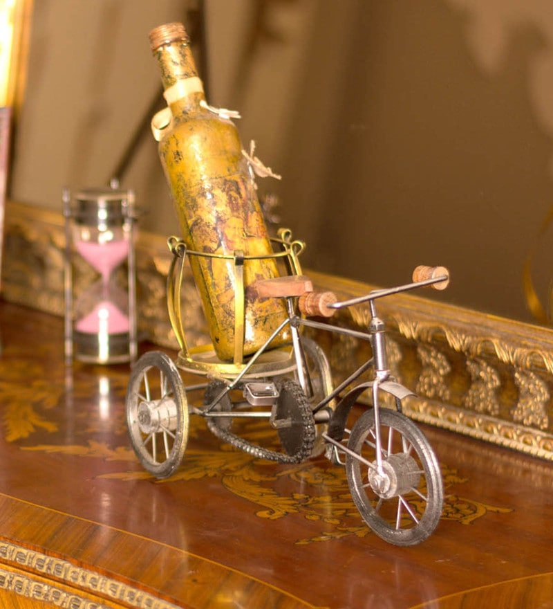 Multicolour Metal Wine Bottle Rikshaw Show Piece by E-Studio