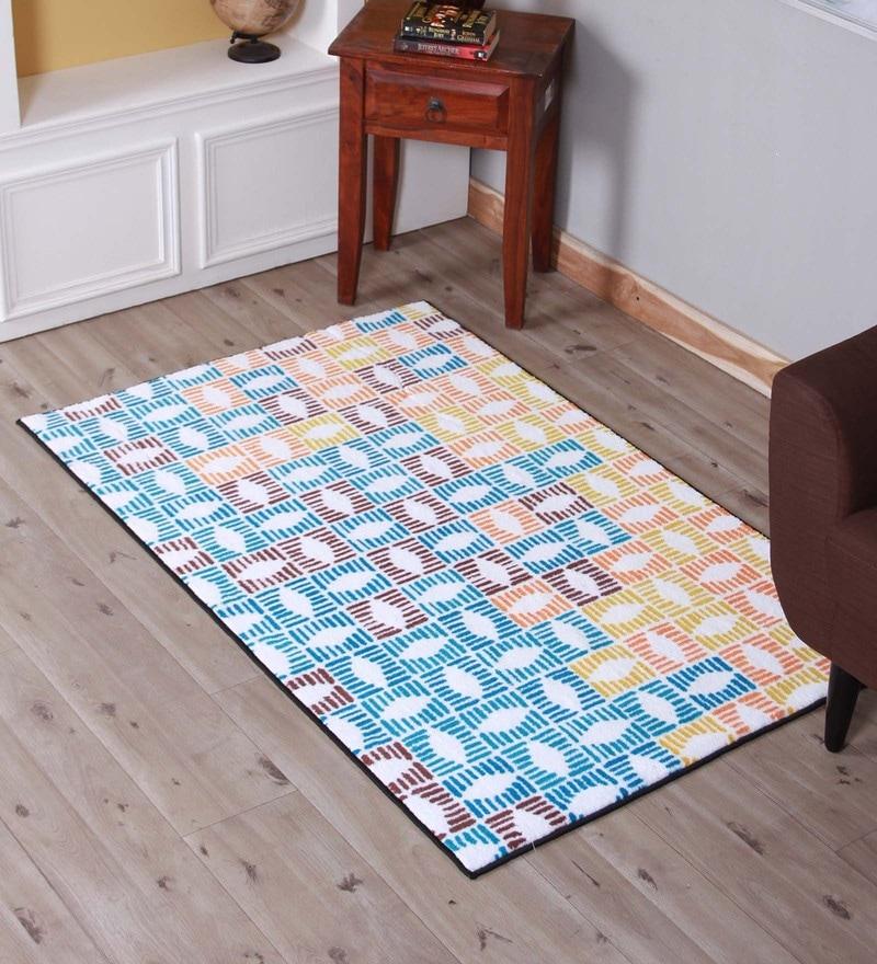 Multicolour Microfibre 38 x 60 Inch Carpet by Spaces