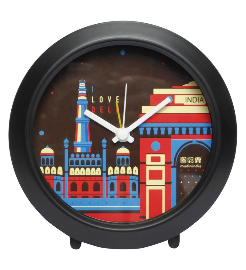 Multicolour Plastic I Love Delhi Round Table Clock by Mad(e) in India