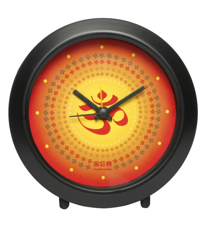 Multicolour Plastic OM Round Table Clock by Mad(e) in India