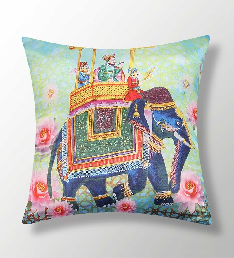 Multicolour Polyester 16x16 Inch Cushion Cover by Dreamscape