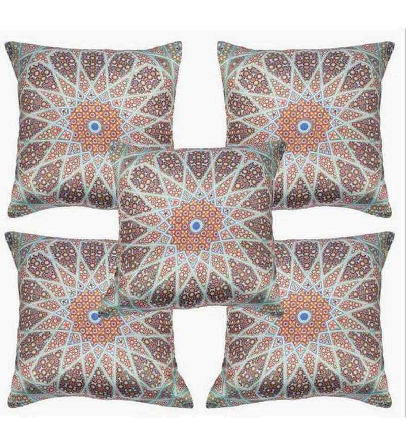 Multicolour Polyester 16x16 Inch Cushion Covers - Set of 5 by Dreamscape