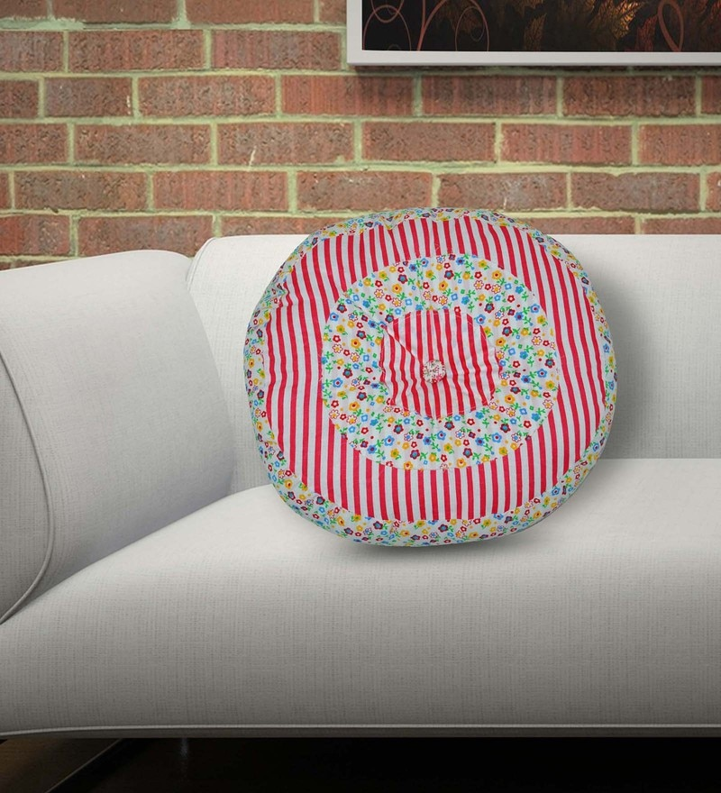 Multicolour Polyester Fiber 16 x 16 Inch Stuff Round Cotton Kid Cushion by Creative Textiles