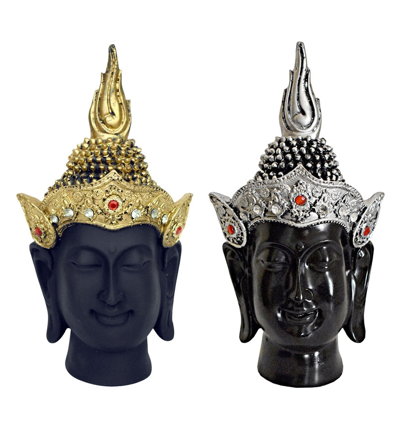 Multicolour Polyresin Buddha's Finish in Matt & Glass Finish Idols by Gallery99 - Set of 2