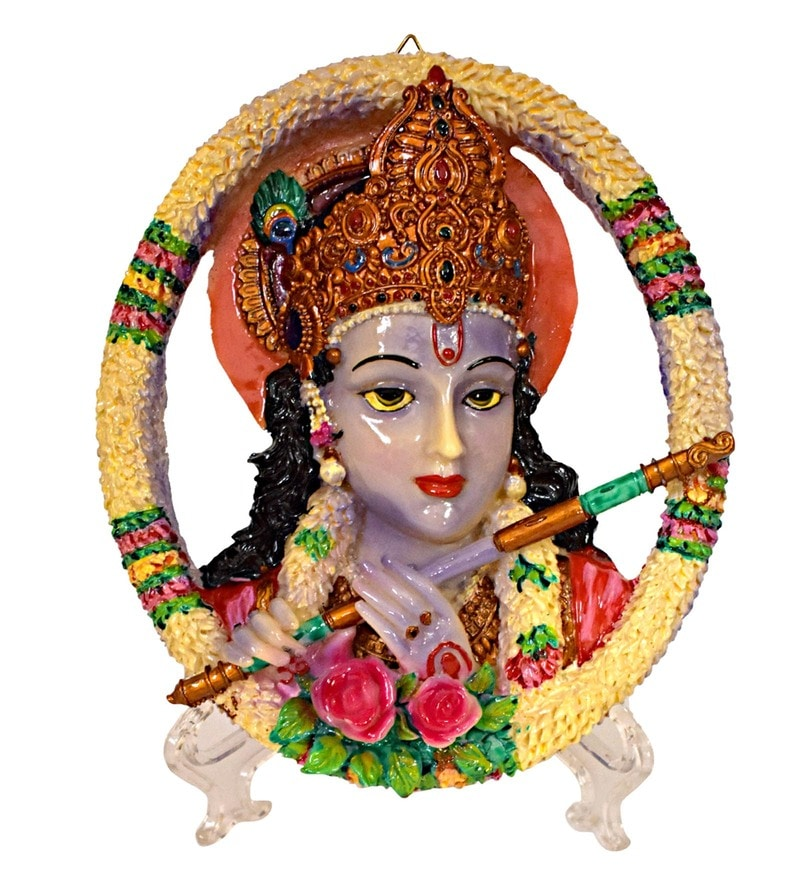 Multicolour Polyresin Krishana Playing Flute Wall Hanging Idol by Gallery99