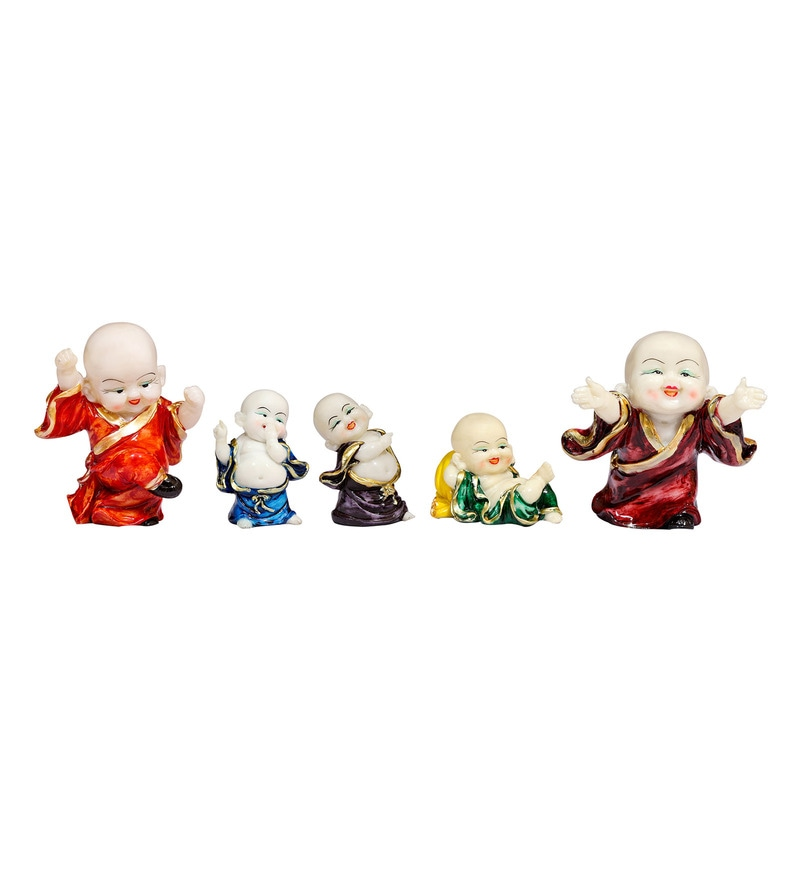Multicolour Polyresin Laughing Buddha Idols - Set of 5 by Forever
