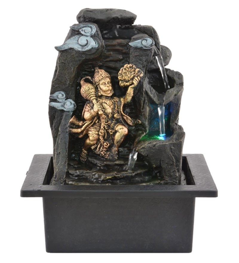 Multicolour Polystone Lord Bajrangbali Hanuman Water Fountain by The Exclusive Deco