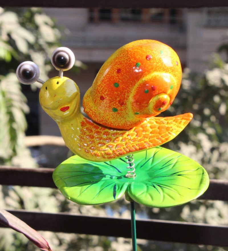 Multicolour Pvc Plastic Snail on Leaf Stake with 24 Inches Metal Stick Garden Decor by Wonderland - Set of 2