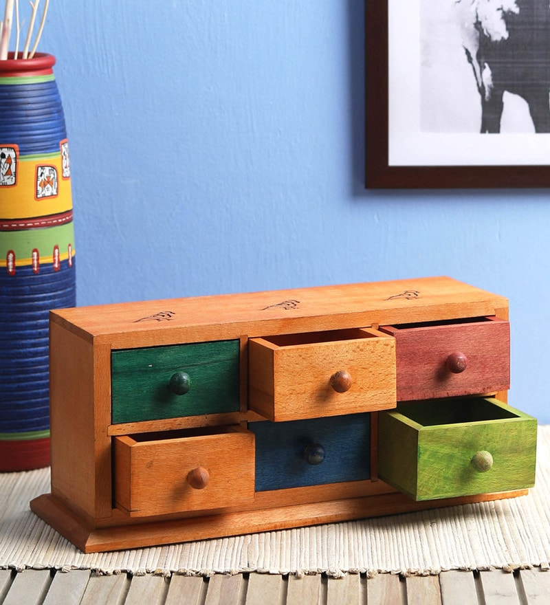 Multicolour Sheesham Wood Chest Table Organiser by VarEesha