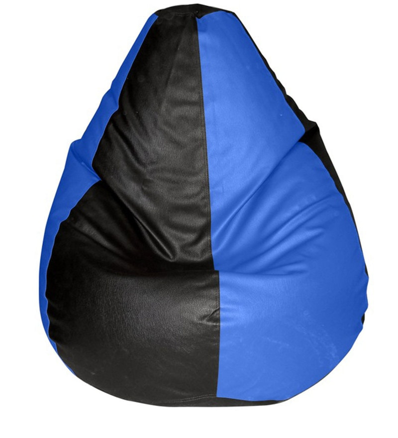 Teardrop Bean Bag Cover in Black & Blue Colour by Feel Good