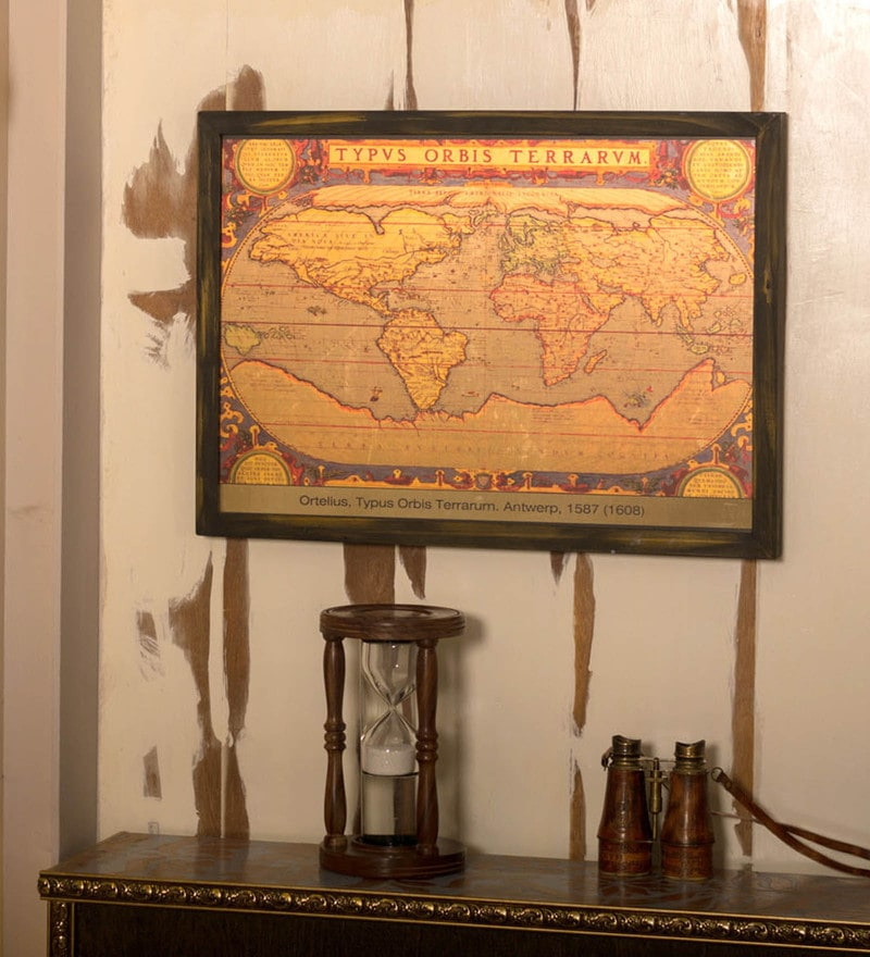 Multicolour Wood & Metal Ortelius Map with Frame by E-Studio