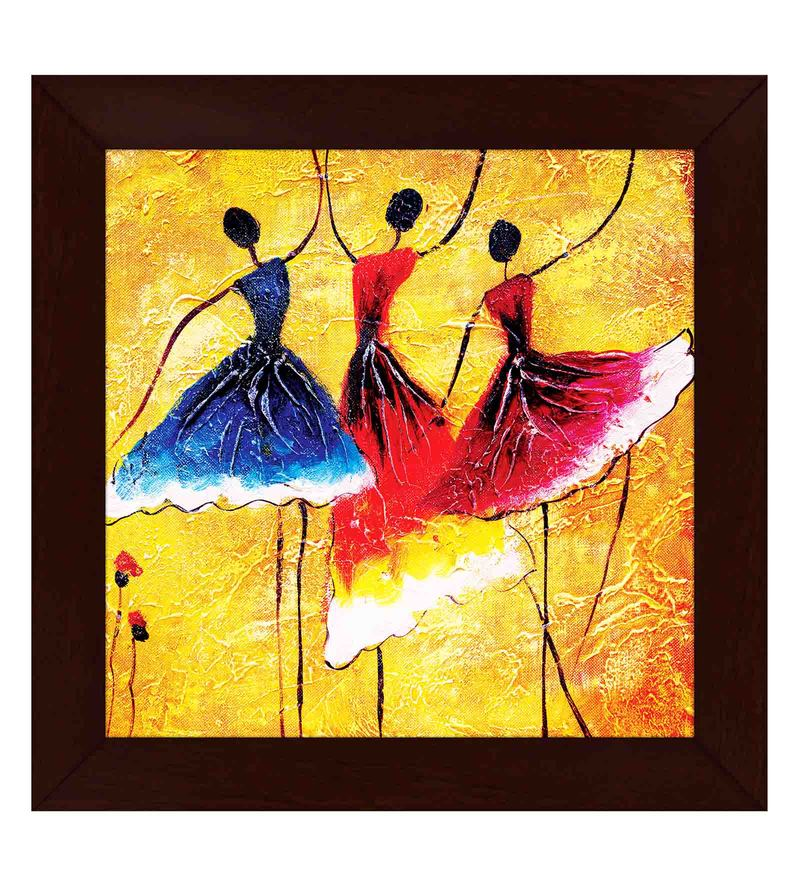 Multicolour Wood Exclusive Frame Dancing Ladies Art Paintings By Story At Home