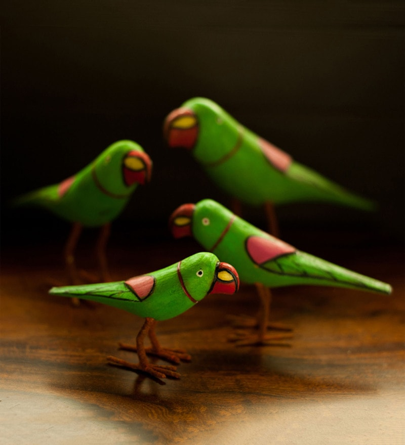 Multicolour Wood Handmade & Handpainted Parrot Family Showpiece - Set of 4 by ExclusiveLane