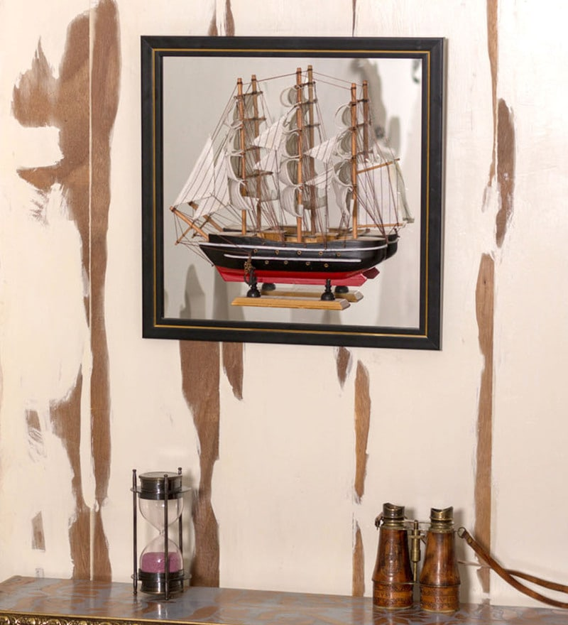 Multicolour Wood Mirror Ship Wall Hanging by E-Studio