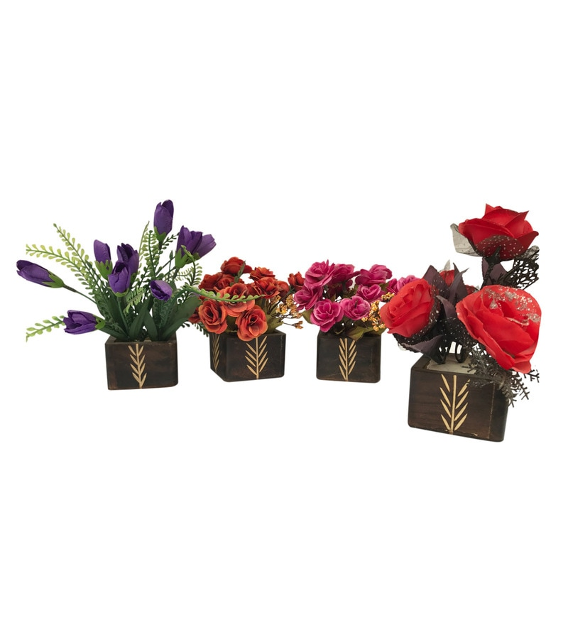 Multicolour Wooden Base Artificial Flowers Planter - Set of 4 by Gallery99