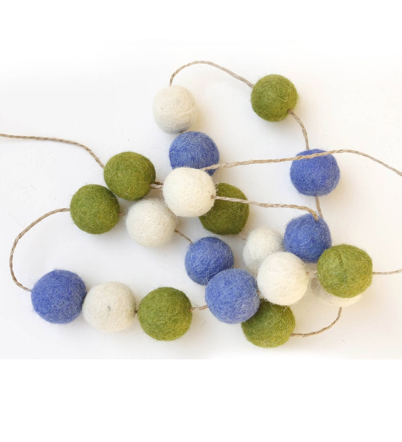 Multicolour Wool Felt Pom Pom Garlands by De Kulture Works - Set of 2