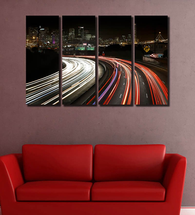 Multiple Frames city roads like Painting - 4 Frames by 999Store
