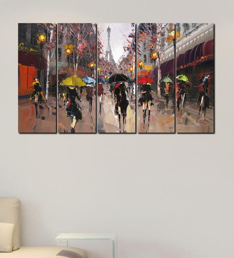 Multiple Frames Printed Abstract City life Art Panels like Painting - 5 Frames by 999Store