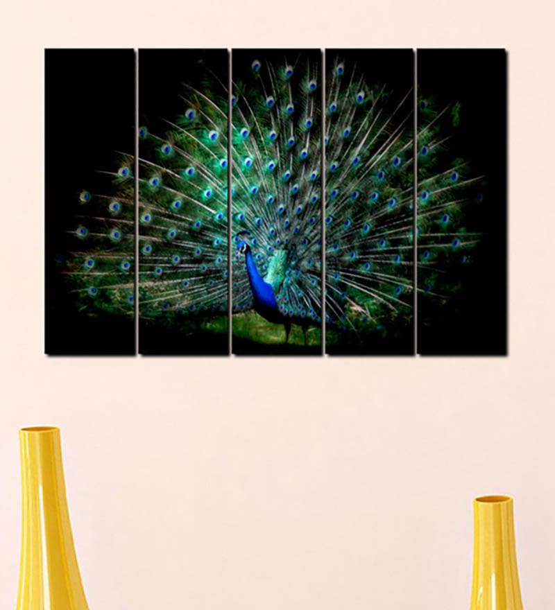 Multiple Frames Printed Peacock Art Panels like Painting - 5 Frames by 999Store