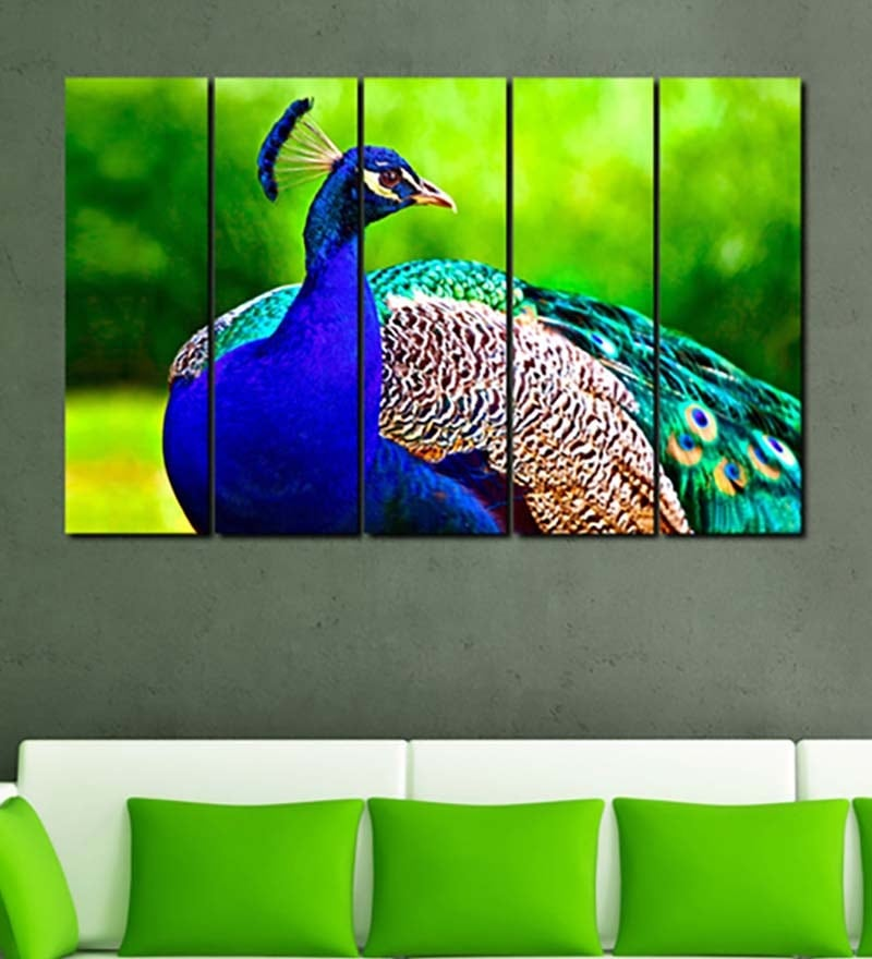 Multiple Frames Printed Peocock Panels like Painting - 5 Frames by 999Store