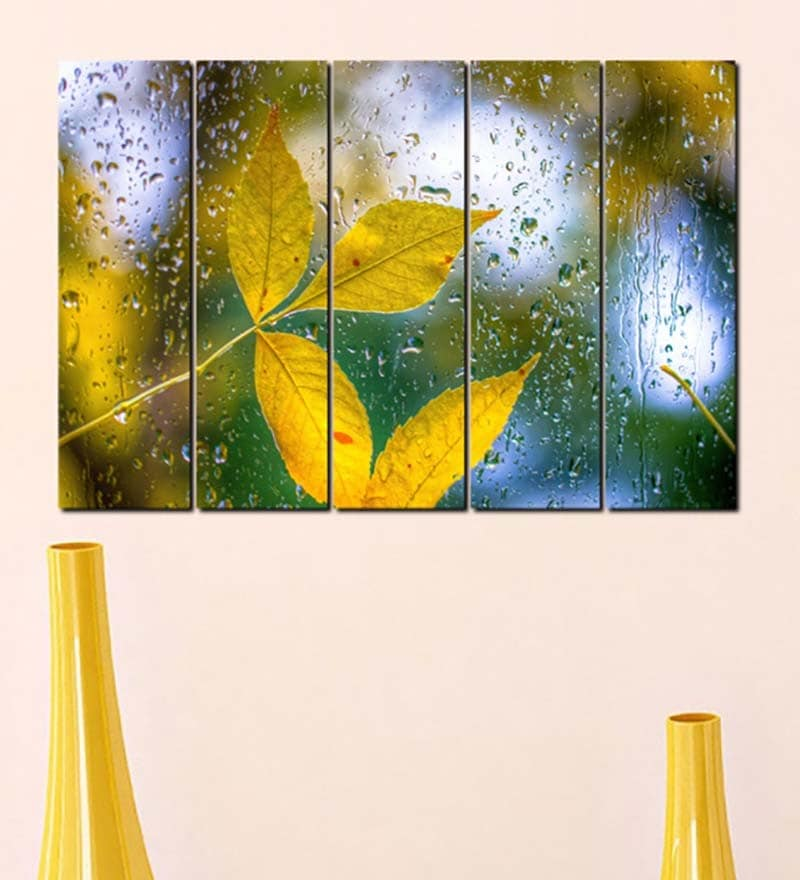 Multiple Frames Printed Water Drops on yellow leaves Panels like Painting - 5 Frames by 999Store