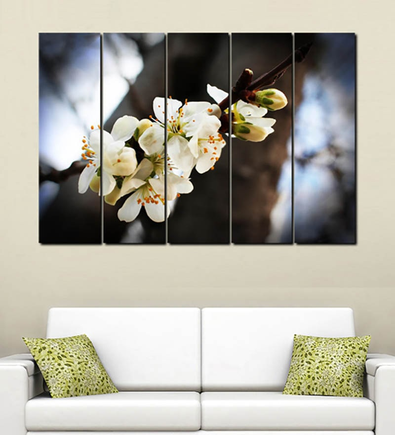 Multiple Frames Printed White Flowers Art Panels like Painting - 5 Frames by 999Store