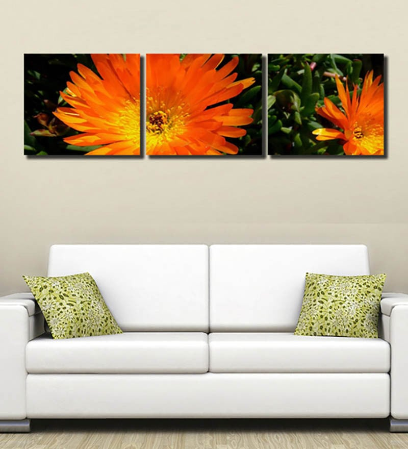 Multiple Frames yellow flower art panels like Painting - 3 Frames by 999Store