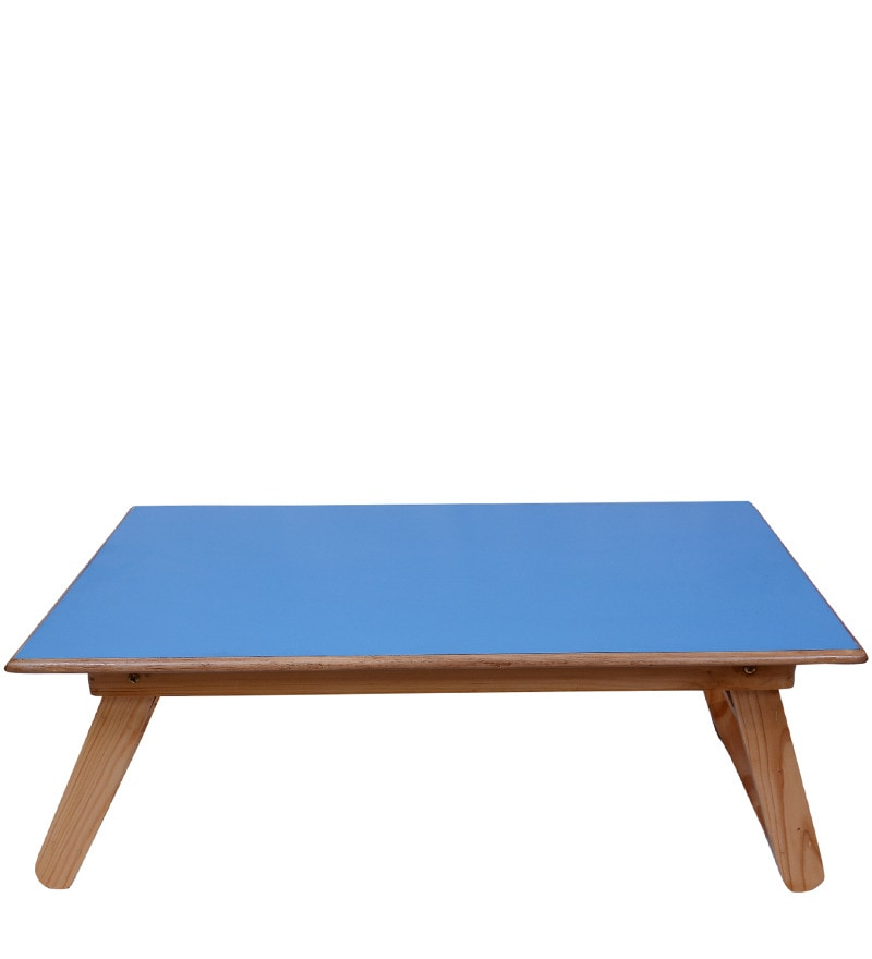 Buy Multipurpose Bed Table Small In Blue Colour By Wood