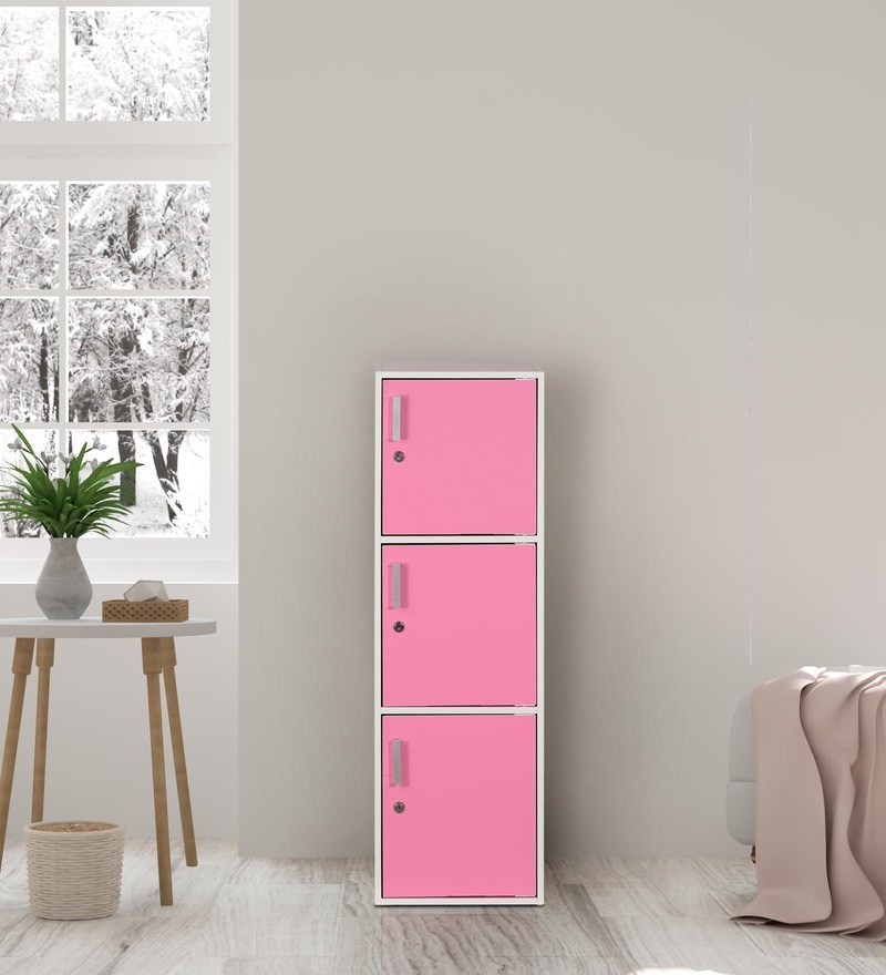Multipurpose Three Level Cabinet in Pink Finish by Essance