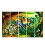 Multiple Frames Printed Birds on the tree stems Art Panels like Painting - 5 Frames