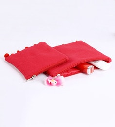 My Gift Booth Canvas Red Travel Pouch - Set Of 2
