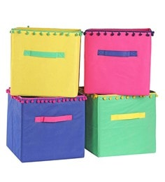 My Gift Booth Pom Pom Non-Woven 60L Multi Storage Box - Set Of 4
