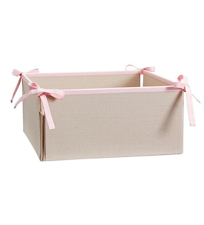 My Gift Booth Cotton 2 L Beige & Pink Medium Storage Basket