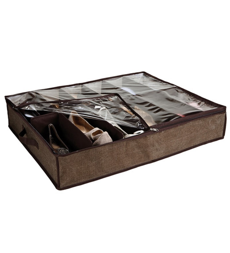My Gift Booth Canvas Espresso Under Bed Shoe Organiser