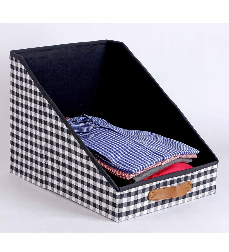 Cotton & Mdf 10 L Black Clothing Storage Bin by My Gift Booth
