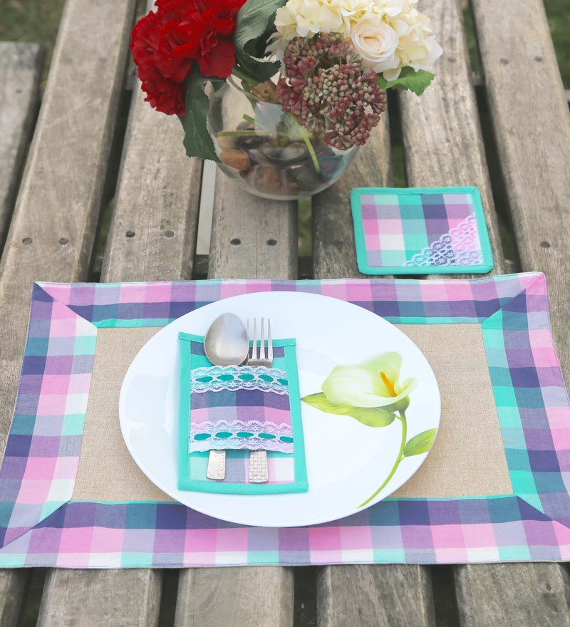 My Gift Booth Multicolour Linen Placemats with Coasters & Cutlery Holders - Set of 6