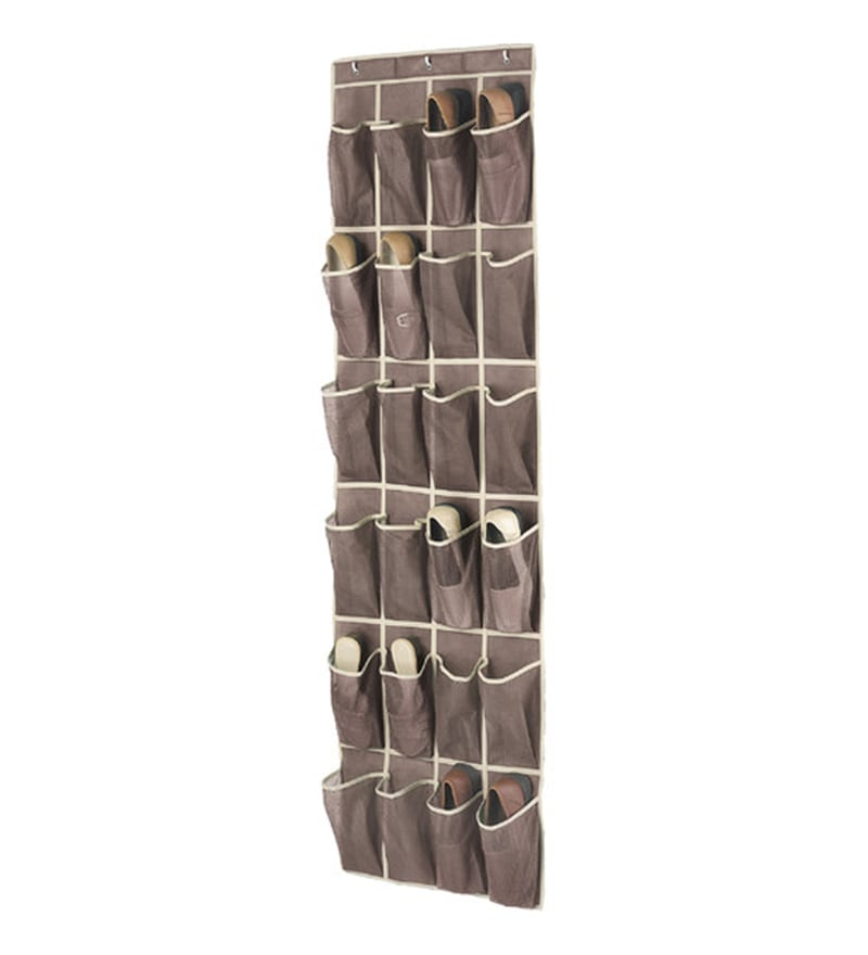 My Gift Booth Non-Woven & Net Brown Door Hanging Shoe Organiser