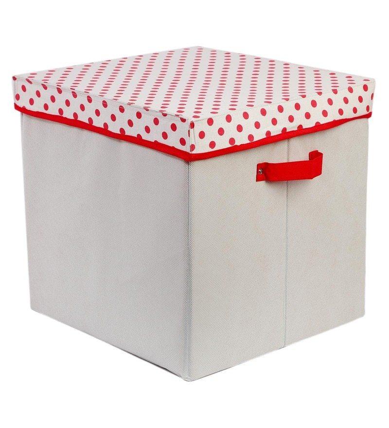 My Gift Booth White U0026 Red 10 L Lidded Storage Box