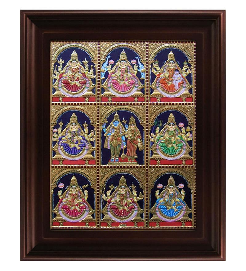 Multicolour Gold Plated Ashta Laxmi Framed Tanjore Painting by MyAngadi