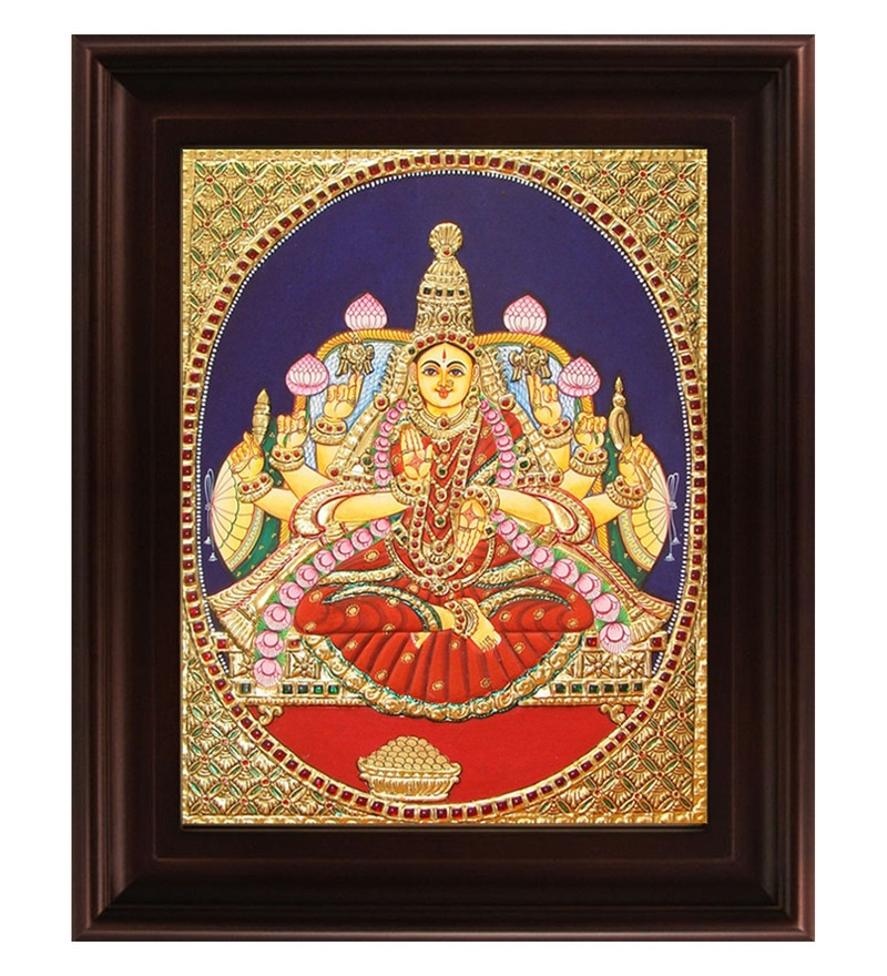 Multicolour Gold Plated Dhana Lakshmi 2.9 X 14 X 18 Inch Framed Tanjore Painting by MyAngadi