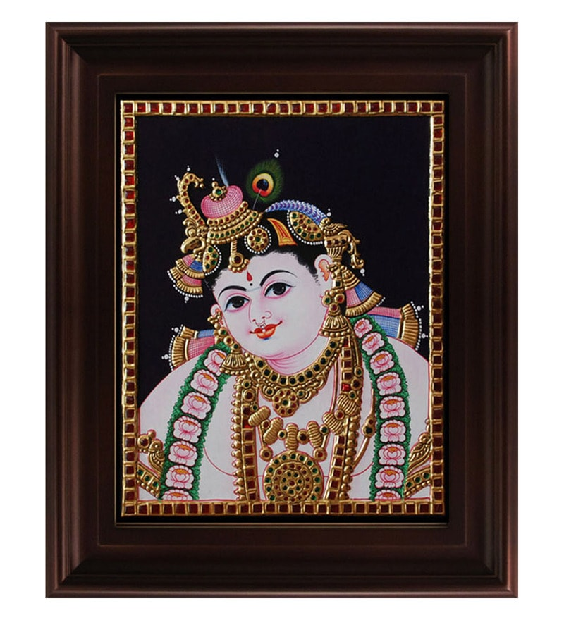 Multicolour Gold Plated Face Krishna Tanjore Plywood & Cloth Framed Painting by MyAngadi