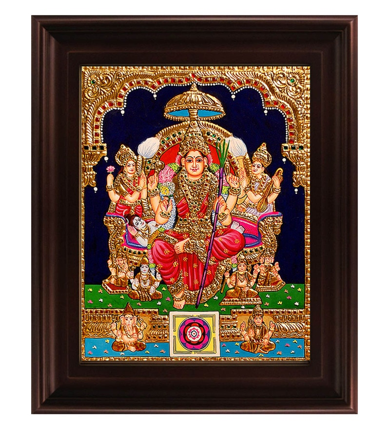 Multicolour Gold Plated Lalithambigai Framed Tanjore Painting by MyAngadi