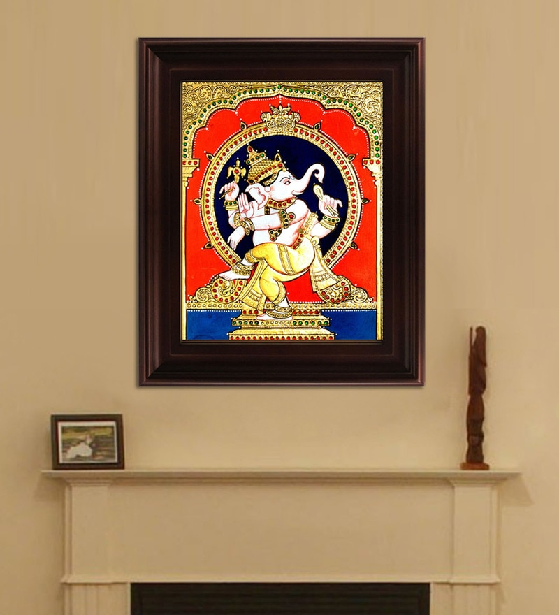 Multicolour Gold Plated Natya Ganesha Framed Tanjore Painting by MyAngadi