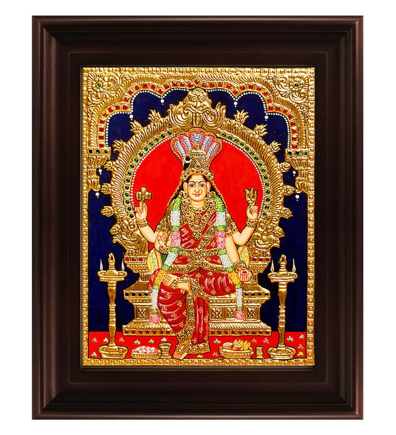 Multicolour Gold Plated Renuka Devi Framed Tanjore Painting by MyAngadi