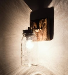 Natural & Transparent Glass And Wood Wall Light - 1641593