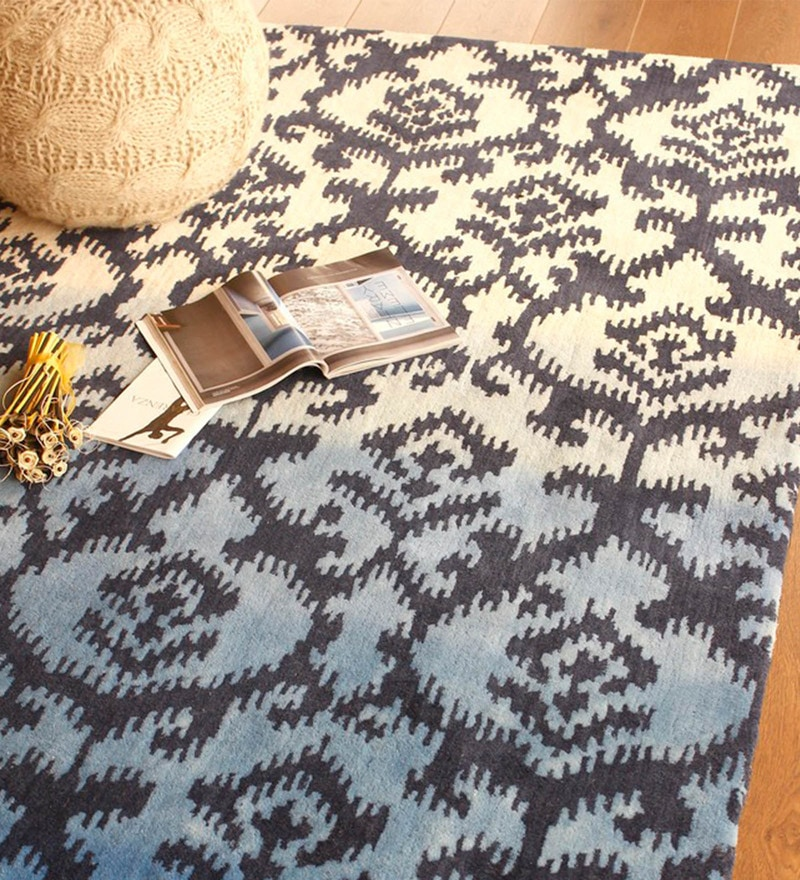 Blue and Ivory Wool 91 x 63 Inch Indian Ethnic Area Rug by The Rug Republic